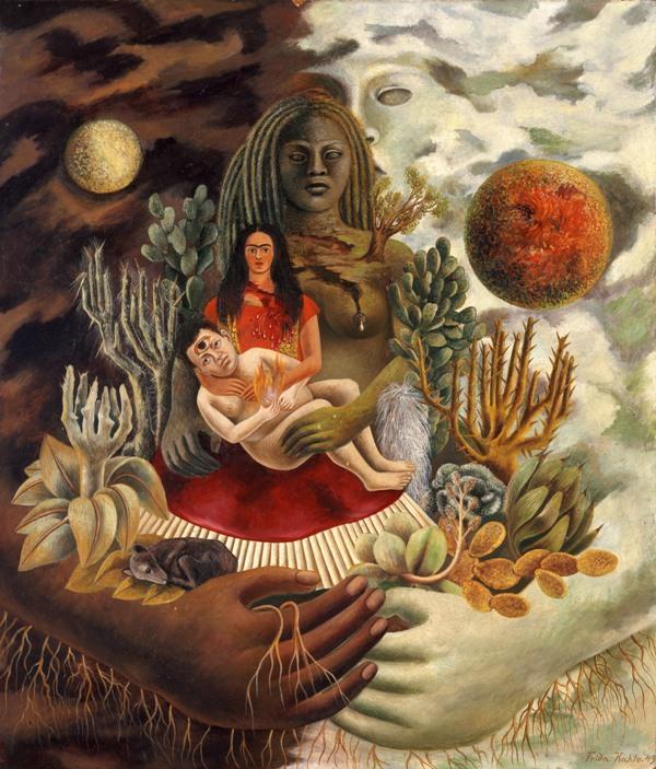 Frida Kahlo, El abrazo de amor del Universo, la Tierra, México, Diego, yo y el señor Xólotl, 1949, Óleo sobre Masonite,