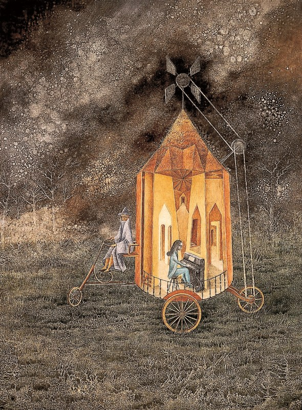 Frida Kahlo Tomie Ohtake Remedios Varo_Roulotte_1955_oil on masonite_78X60cm_Collection of The Museum of Modern Art of México_© Varo, Remédios - AUTVIS, Brasil, 2015