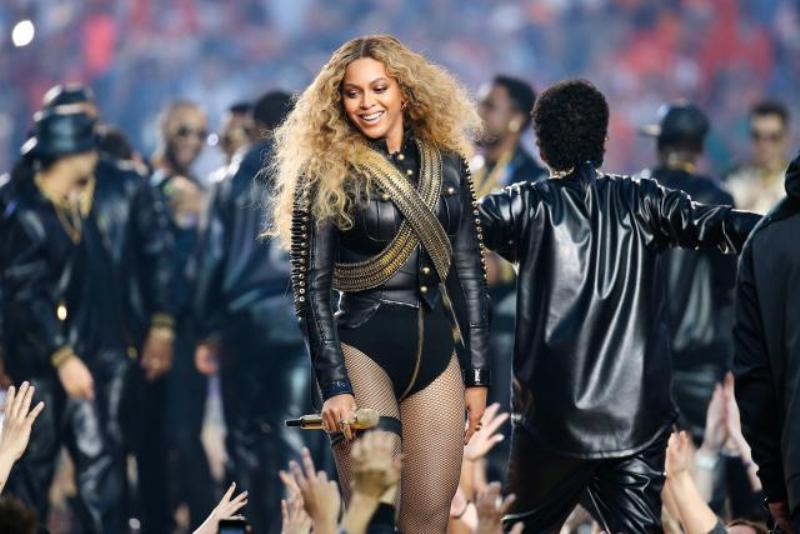 Beyonce performs during the halftime show at Super Bowl 50 between the Denver Broncos and the Carolina Panthers at Levis Stadium in Santa Clara, California on February 7, 2016.