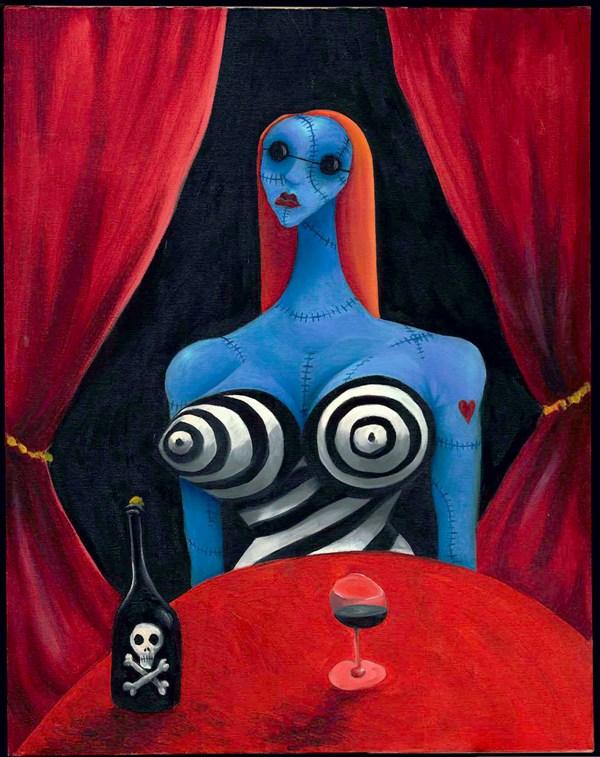 expo Tim Burton 1054_Menina azul com vinho_1997_+ôleo sobre tela_Cole+º+úo particular de Tim Burton -® Tim Burton All Rights Reserved final