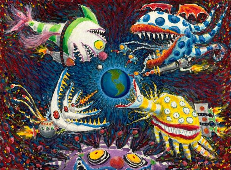 expo Tim Burton 1061 Rodeado 1996 +ôleo e acr+¡lico sobre tela (c) 2015 Tim Burton final