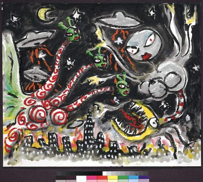 expo Tim Burton 1325 Sem t+¡tulo (S+®rie Menina) c. 1997ÔÇô1998 Aquarela e pastel sobre papel (c) 2015 Tim Burton final