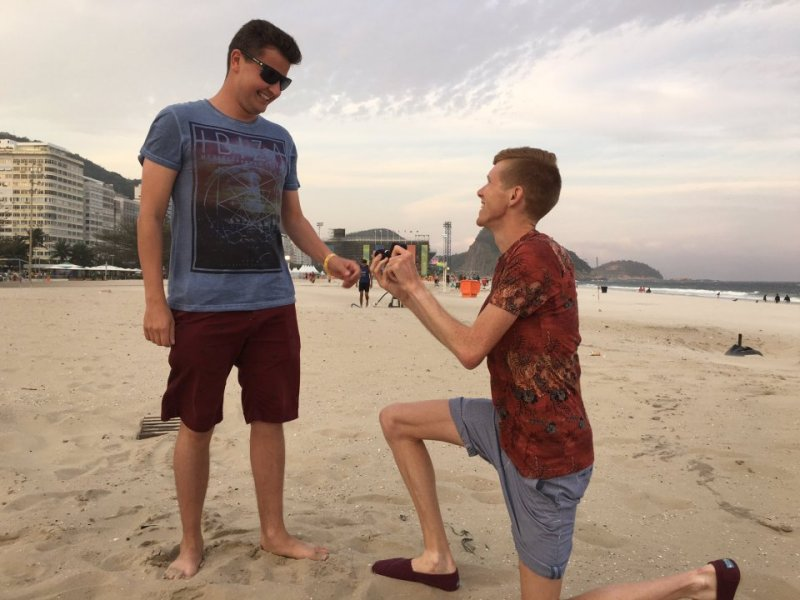 Tom Bosworth proposes to Harry Dineley a fellow Olympic athlete