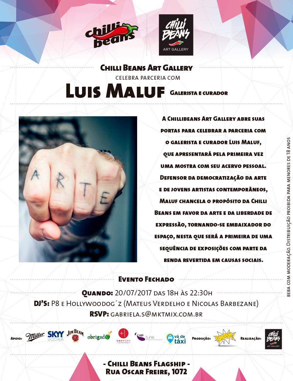 O pôster oficial da mostra na Chilli Beans Art Gallery, sob curadoria de  Luis Maluf (Foto  Divulgação) d6305bb712
